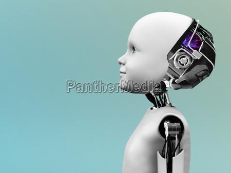 child robot head in profile