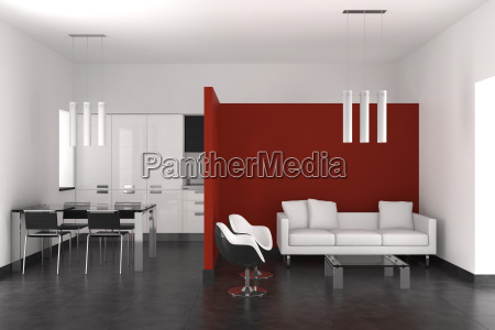 modern interior with living room dining