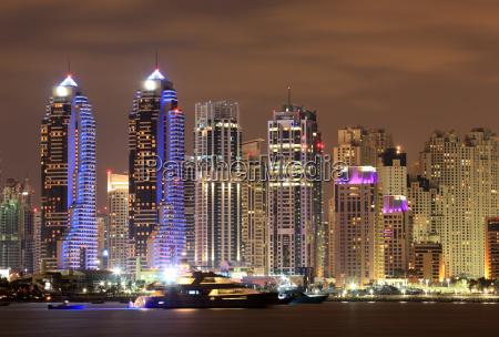 dubai marina at night united arab