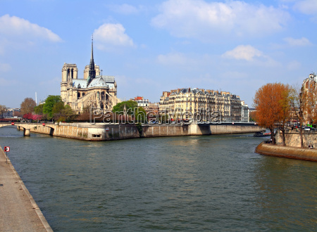 cathedral notre dame at river seine