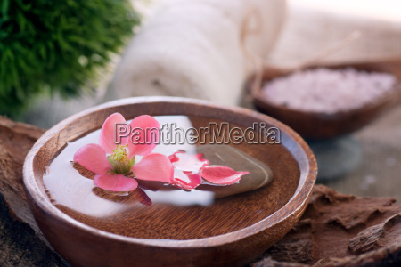 spa setting with floral water
