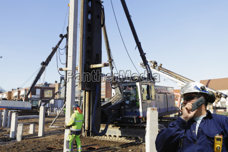 construction workers inside building site