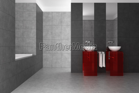 tiled bathroom with double basin and