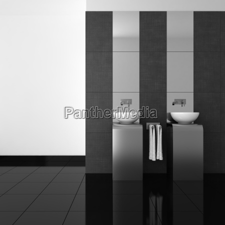 modern bathroom with double basin and