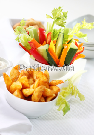vegetable snack and wedges with dip