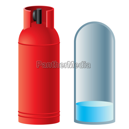 red butane gas cylinder