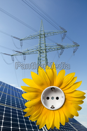 solar panels sunflower with socket and