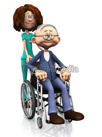 cartoon nurse helping older man in