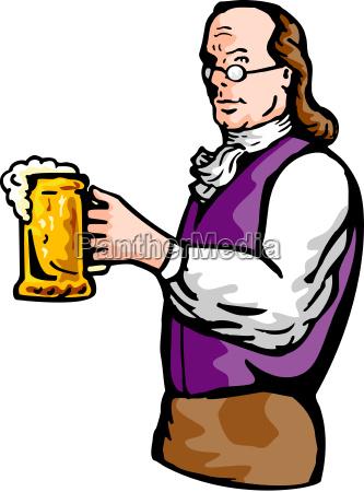 benjamin, franklin, gentleman, holding, mug, of - 6273919