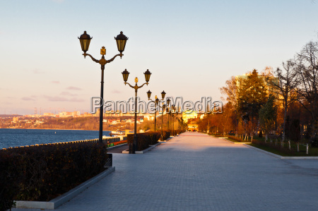 row of lampposts on volga river