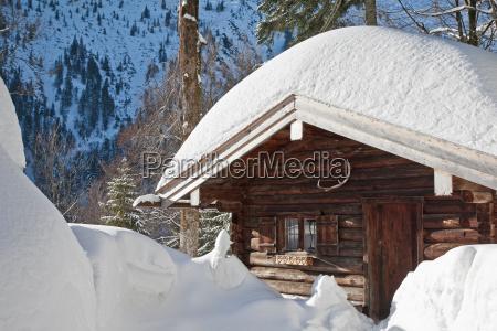 mountain hut in winter
