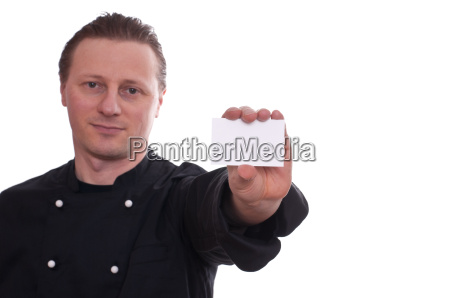 chef holding with hand a business