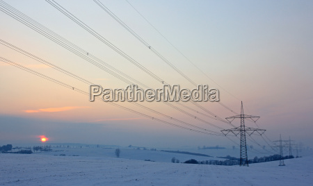 winter sunset evening energy power electricity