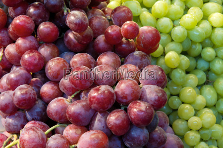 red and green grapes closeup
