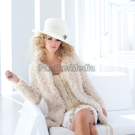 blond fashion woman with eighteenth century