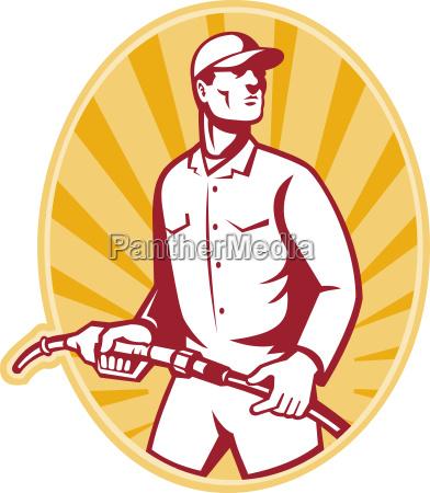 gas jockey with petrol pump nozzle