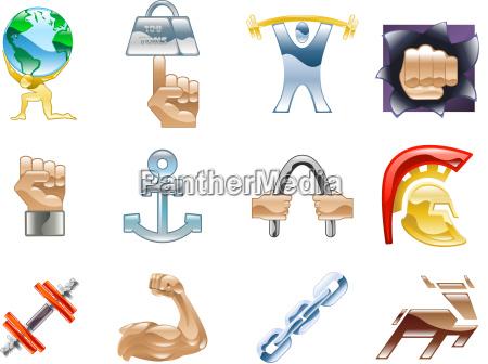 strength icon set series design