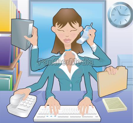 business woman multitasking illustration