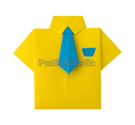 origami yellow shirt with tie