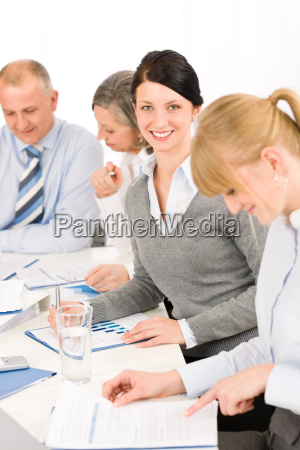 business meeting teamwork young woman smiling