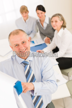 giving presentation businessman point flip chart