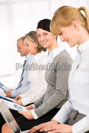interview business people waiting study report