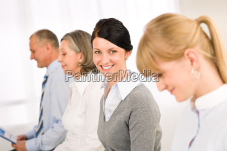 interview business people young woman smiling