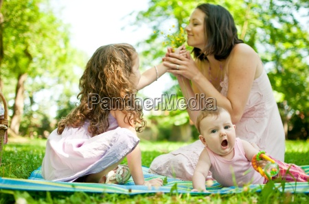 happy life mother with children