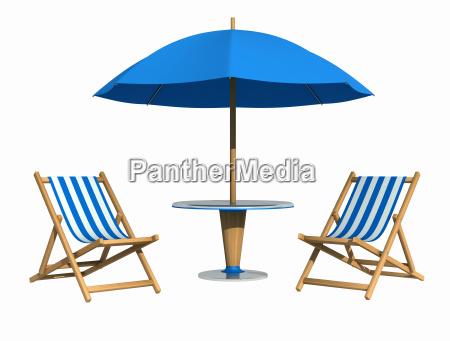blue deckchair and parasol