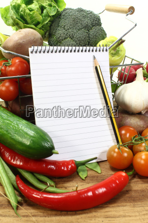 shopping list with pencil and basket