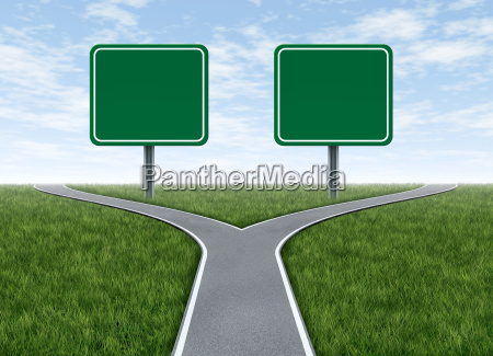 two options with blank road signs