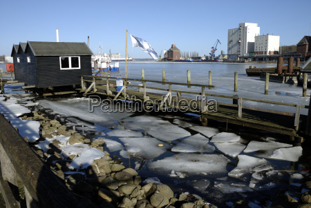 ice floes in flensburg harbour