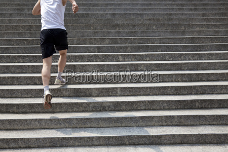 running man on stairs