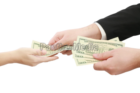 hands giving money isolated on white