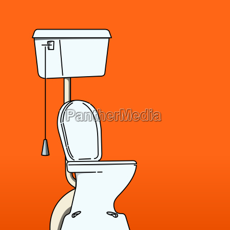 toilet bowl on red background