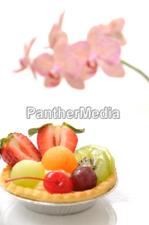 fruit tart and orchid