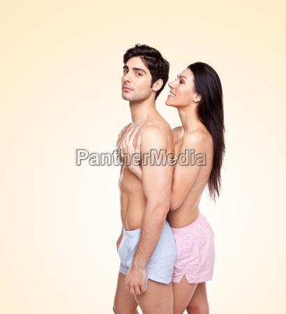 romantic couple enjoying foreplay