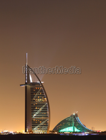 dubai landmarks at night united arab