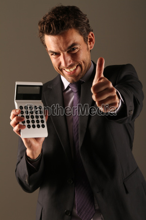 man with calculator