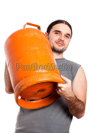 man holding gas bottle