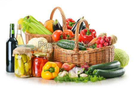 wicker basket and grocery isolated on