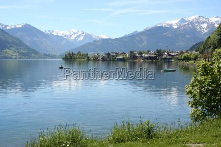 angler on lake zell in salzburg
