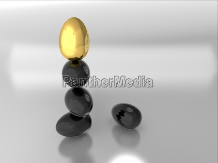 black and golden eggs