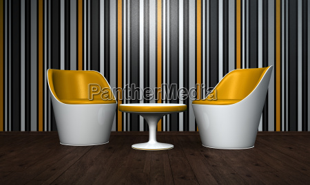 relax room orange white