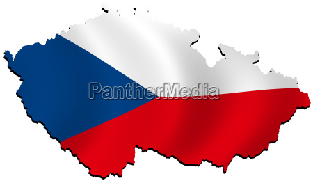 map czech republic with flag