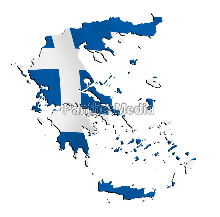 map greece with flag