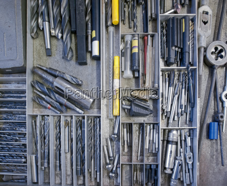 industrial tools in a drawer