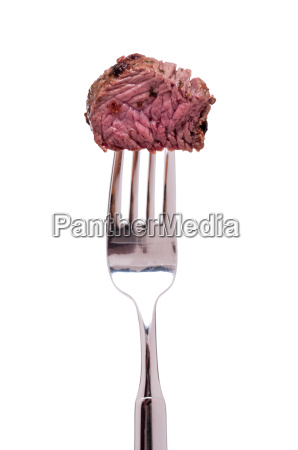 white exempted fork with ostrich meat