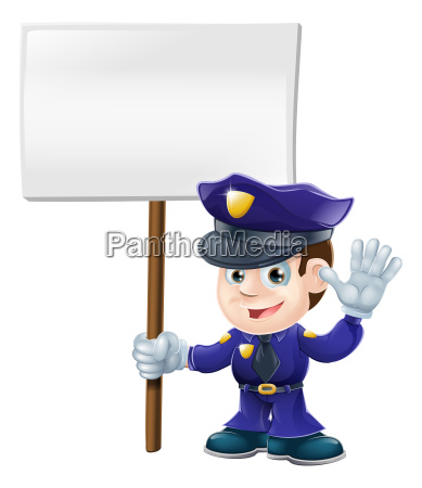 cute police man with sign illustration