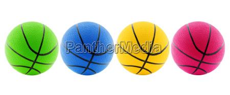 four basketball balls